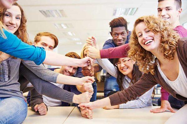 Indoor teamwork exercises.